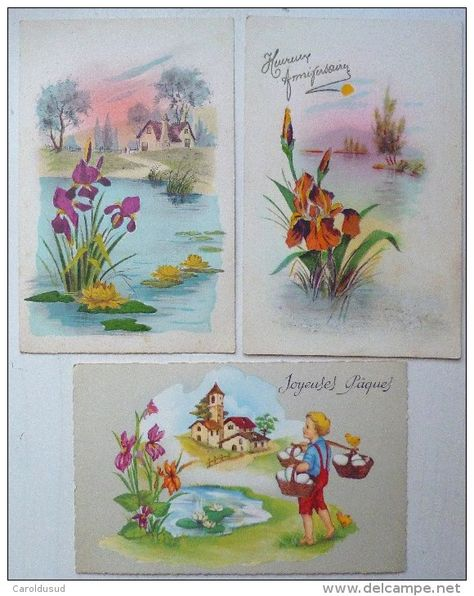 Lot 3x Litho Aquarelle Illustrateur M B 2x Mga M G A 863