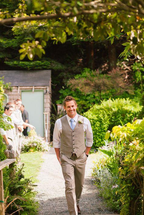 Garden wedding - groom's suit with vest by John Varvatos - Compass Rose Gardens, Bodega Bay, CA