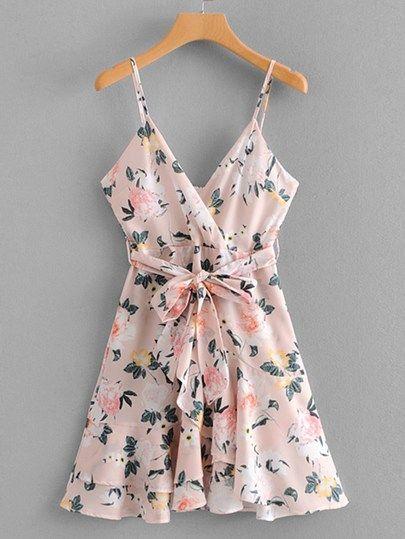 c0c96decee2 Self Tie Floral Print Flounce Cami Dress  swdress02190220004  -  40.00    cuteshopp.com