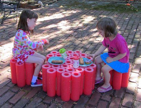 Kreative Bastelideen Schwimmnudeln Diy Tisch Hocker Kinder Garten