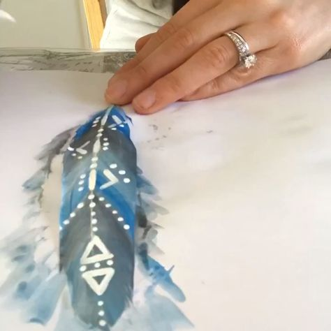 Boho watercolor feathers with tribal designs. Add these to your dream catcher for a unique one of a kind piece for your home or bedroom