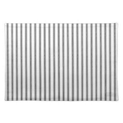 Farmhouse Black Ticking Stripe Placemat Kitchen Gifts Diy Ideas Decor Special Unique Individual Customized Ticking Stripe Diy Style Rustic Gifts