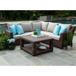 Canopy Monteray 4 Piece Resin Wicker Outdoor Sectional With Sunbrella Cast Ash Cushions Sec1300mon The Home Depot Wicker Outdoor Sectional Outdoor Sectional Furniture