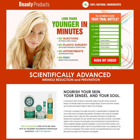 beauty product selling lead capture responsive landing page