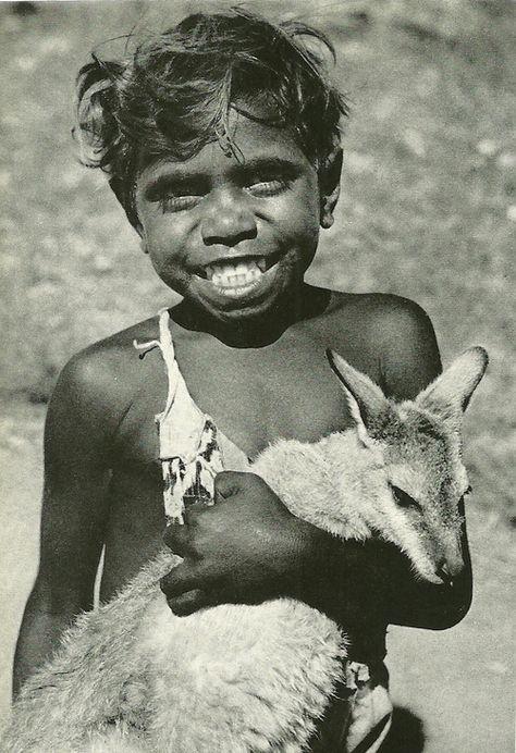 Aboriginal boy with kangaroo pet, Australia National Geographic   October 1955