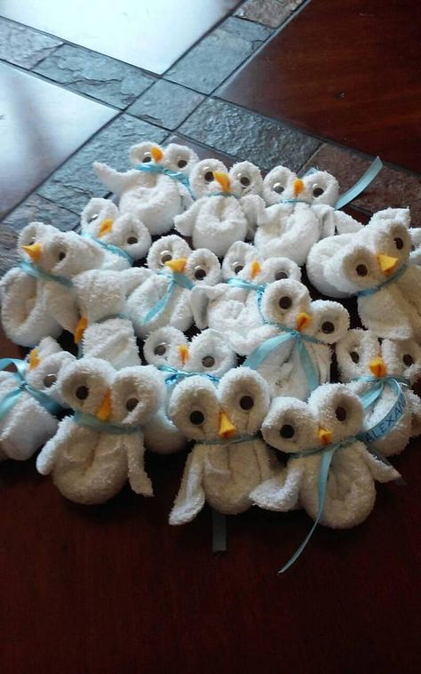 White washcloth owl's great for baby shower or gender reveal party favors.