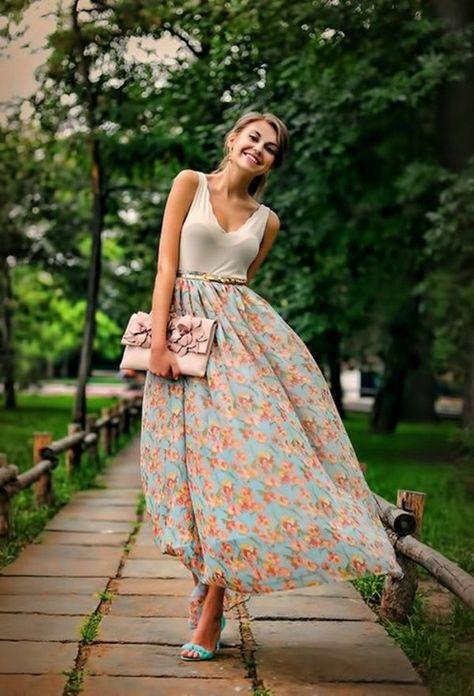 comment porter une jupe longue avec motif floral