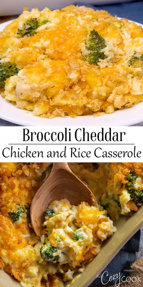 This easy Broccoli Cheddar Chicken and Rice Casserole recipe can be prepared up to 3 days ahead of time and baked when you need to make a quick dinner! #casserole #chicken #rice #broccoli #bake #makeahead #Dinner