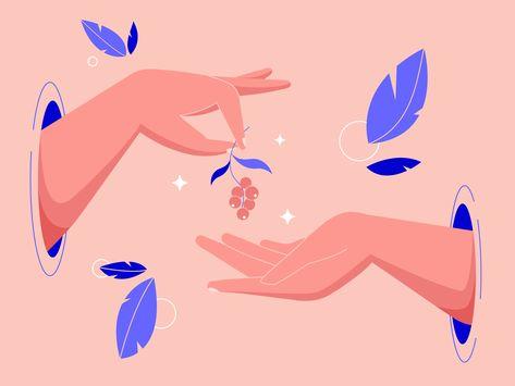 Hands with berries