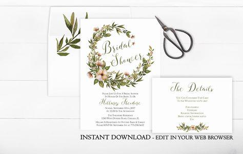Printable Wreath Bridal Shower Invitation Template | Greenery Bridal Shower Invitation | Instant Download | Floral Wreath | Spring Botanical