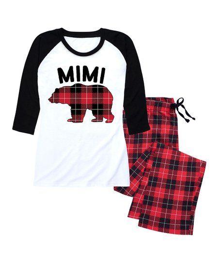 Nap Chat Family Red Black Buffalo Plaid Mimi Bear Pajama Set