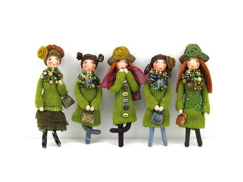 Wonderful doll-brooches by Galina Ben