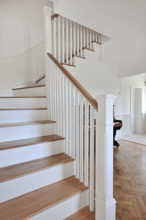 Fresh country living with that 'wow' factor! A solid oak and Farrow & Ball white staircase designing for this family home in Cowbridge, Cardiff. Interior Stairs, Staircase Remodel, Staircase Decor, Staircase Railings, House Staircase, House Stairs, Modern Staircase