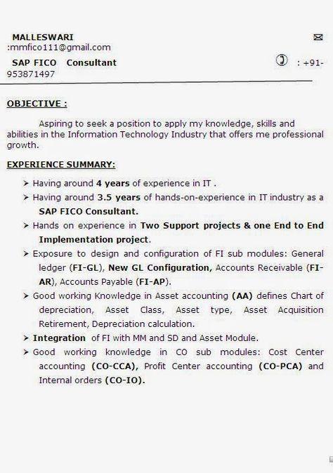 curriculumvitae Sample Template Example ofExcellent Curriculum - sap fico consultant sample resume