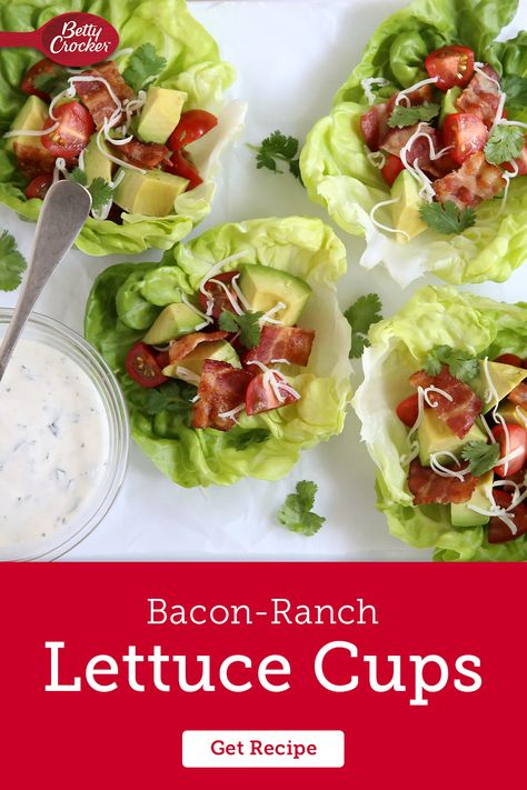 Bacon Ranch Lettuce Cups make for a delicious gluten-free appetizer or a fresh sandwich alternative for lunch. Pin this easy recipe now for flavorful options later.