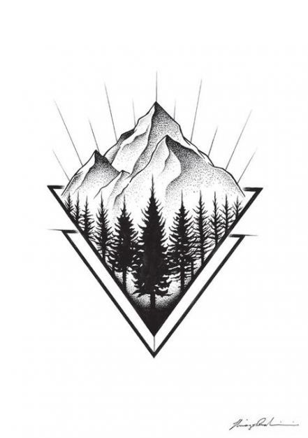 27 Ideas Nature Design Drawing Style For 2019 Geometric Nature Geometric Mountain Tattoo Tattoo Designs Men