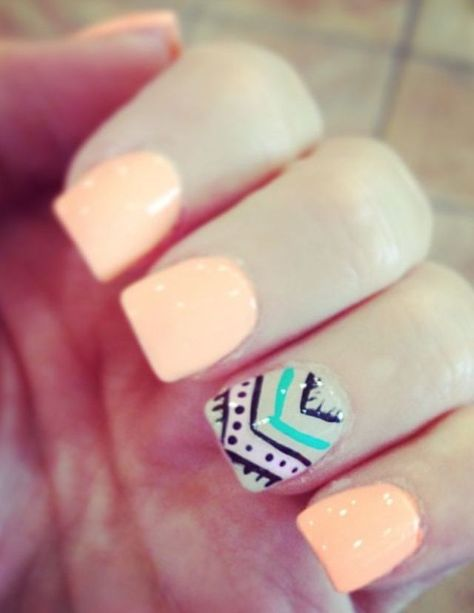 Peach nails. Instead take off the design on the ring finger and keep the color, just add cheetah print on the side