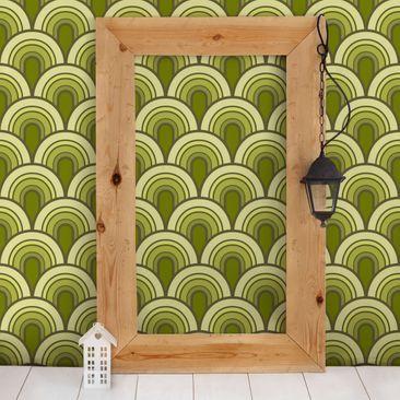 Produktfoto Mustertapete Retro Schuppen Grun 70er Jahre