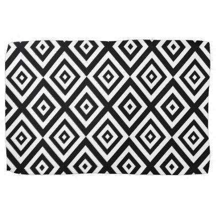 Abstract Geometric Pattern Black And White Kitchen Towel