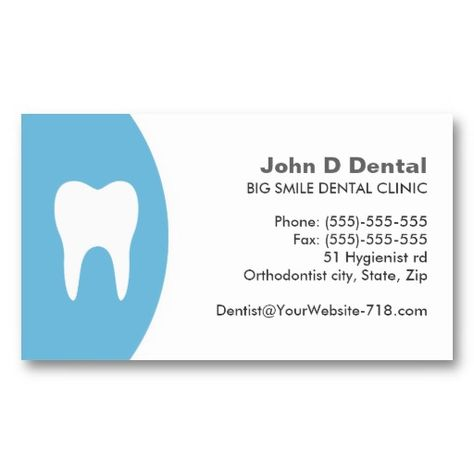 Elegant And Stylish Dentist  Dental Business Card In Blue And
