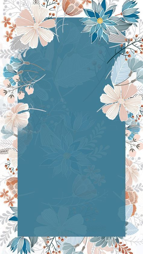 Hand Painted Small Art Hand Painted Floral Border Blue Background H5 Background Border Floral P Flower Background Wallpaper Small Art Flower Art Painting