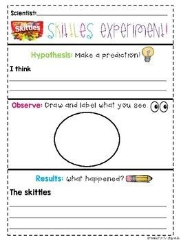Experiment Recording Sheet Skittles And Cornstarch Experiments Rainbow Experiment Science Experiments Skittles