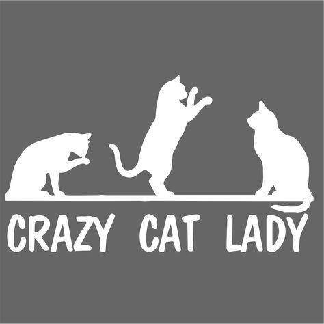 Crazy Cat Lady Vinyl Decal Sticker - Chrome / 6 W x 3.4 H