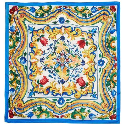 2f2e240b51314 Dolce   Gabbana Majolica-print silk-twill scarf ( 475) ❤ liked on