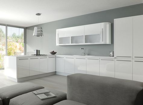 White High Gloss Acrylic Kitchen - Available in made to measure sizes and a six year manufacturers guarantee.