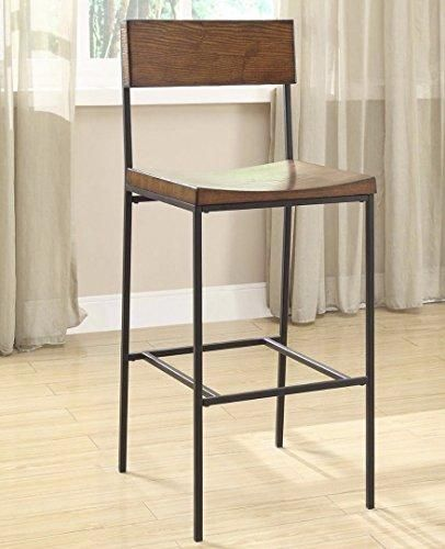 Modern Industrial Rustic Chestnut Wood And Black Metal Counter Height Stool With Back Mirror Wall Living Room