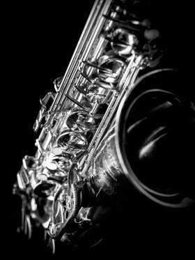 'Saxophone close-up. Photograph…' Metal Poster – matteo mescalchin | Displate