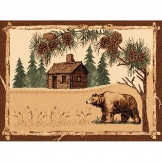 Log Cabin Bear Rug Bear Area Rug Lodges Design Cabin Rugs