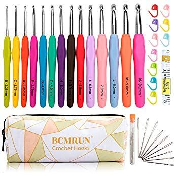 2mm-10mm Hooks Aluminum Multicolor 14Pcs BCMRUN Crochet Hooks Knitting Needles