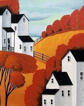 Red Maples - Country Folk Art Landscape by Debbie Criswell