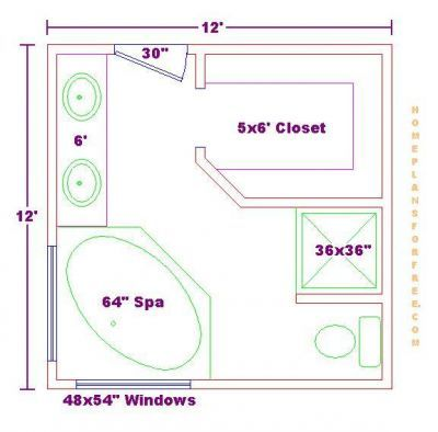master bathroom floor plans |  master bathroom design 12x12