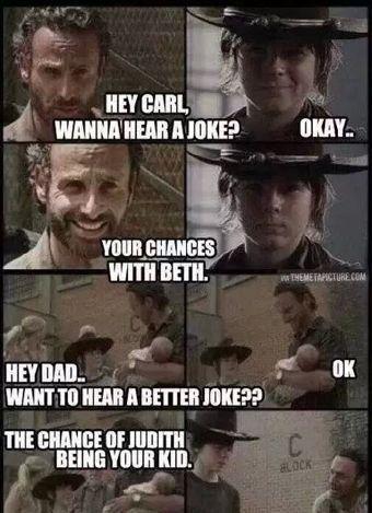 1187bc9be3b51ac2c532350efe334a0b so funny funny stuff rick and carl jokes the walking dead pinterest,Carl Rick Meme