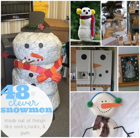 Snowman craft round up... make snowmen out of things like socks, rocks, and gun!