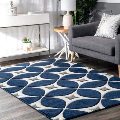 Langley Street Jamar Geometric Handmade Tufted Jute Navy Blue Area Rug Wayfair In 2020 Blue And White Rug Blue Rugs Living Room Blue Area Rugs