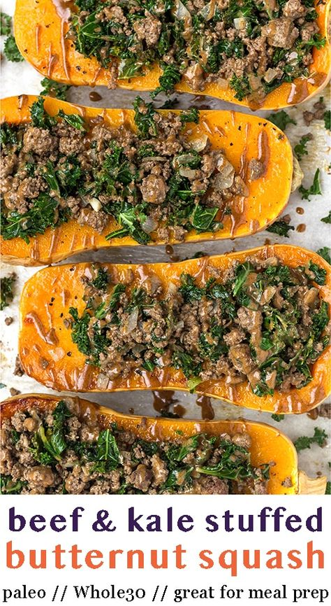 Kale & beef stuffed butternut squash makes the perfect easy and healthy comfort food. Packed with warming spices and topped with a cinnamon tahini sauce. Great for meal prep and paleo, Whole30, and dairy free. - Eat the Gains #stuffedsquash #butternutsquash #whole30recipes #glutenfreee