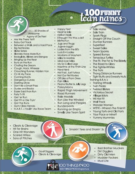 100 Funny Team Names.  A compilation list of the funniest names for sports/race teams on the internet.  Free printable.
