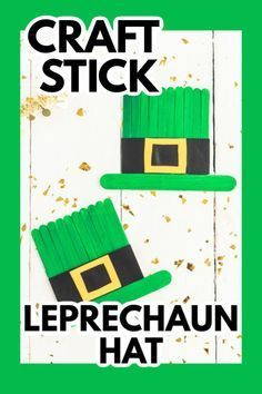 This craft stick leprechaun hat is an easy craft for kids to make while you teach them about Irish culture and why we celebrate St. Patrick's Day! #craftstick #stpatricksday #kidscrafts #stpatricksdaycrafts #leprechaun #craftsbyamanda