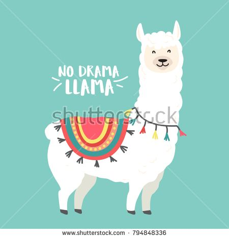 Cute Cartoon Llama Vector Design With No Prob Llama Motivational