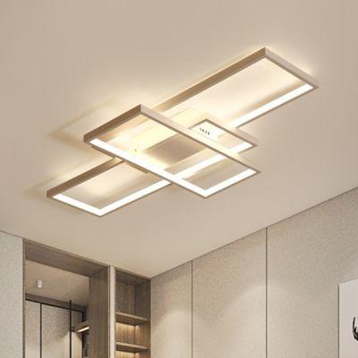 Modernism Rectangular Flush Mount Light Metallic Led Ceiling Fixture In White For Restaurant Kitchen Ceiling Lights Modern Ceiling Light Flush Mount Kitchen Lighting