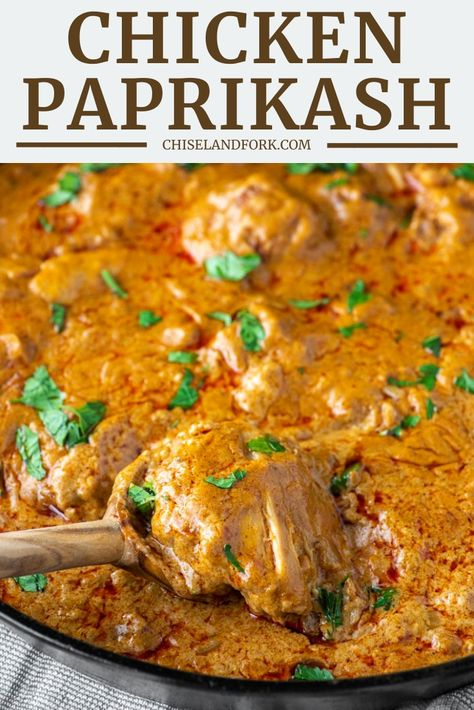 Chicken Paprikash Recipe – Chisel & Fork This easy chicken paprikash recipe is a traditional Hungarian dish with chicken cooked in a sauce loaded with paprika and sour cream. Crockpot Recipes, Cooking Recipes, Healthy Recipes, Turkey Recipes, Chicken Recipes, Dinner Recipes, Easy Chicken Meals, Comida India, Hungarian Recipes