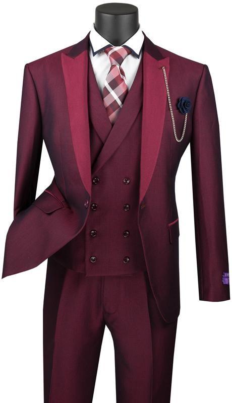 Vinci Men Suit SV2R-6-Ruby - Ruby / 36R