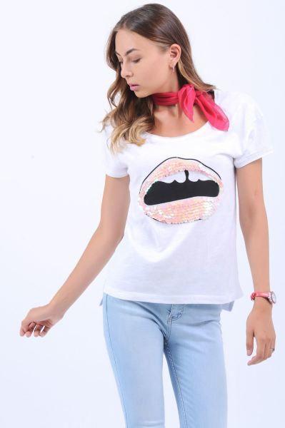 Bayan Tisort Baskili Pul Detay Beyaz T Shirt 2018 Toptan Tasarim Dikis Cool Magaza Kiz Otantik Salas Kislik Gotik Kapali Trendler Kizlar Tisort