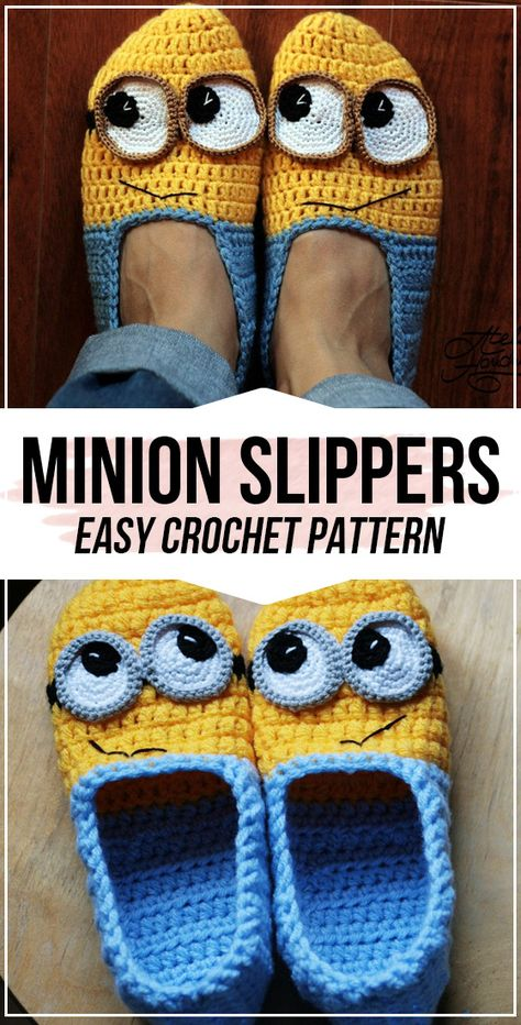 crochet Minion Slippers Yellow and Blue pattern - easy crochet slippers pattern for beginners Crochet Pattern Free, Minion Crochet Patterns, Minion Pattern, Pokemon Crochet Pattern, Crochet Slipper Pattern, Crochet Minions, Holiday Crochet Patterns, Easy Crochet Slippers, Crochet Shoes