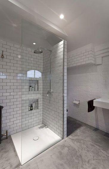 32 Trendy Bath Room Shower Cubicle Subway Tiles Basement Bathroom Design Concrete Tiles Bathroom Shower Cubicles