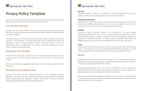 Privacy Policy Template - A template to assist you with crafting a - privacy policy sample template