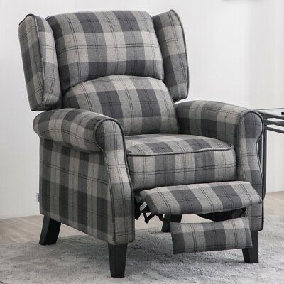 Details about ILANKA WINGBACK FIRESIDE CHECK FABRIC RECLINER